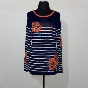 LAURA SCOTT FLORAL STRIPED NAVY SWEATER - M